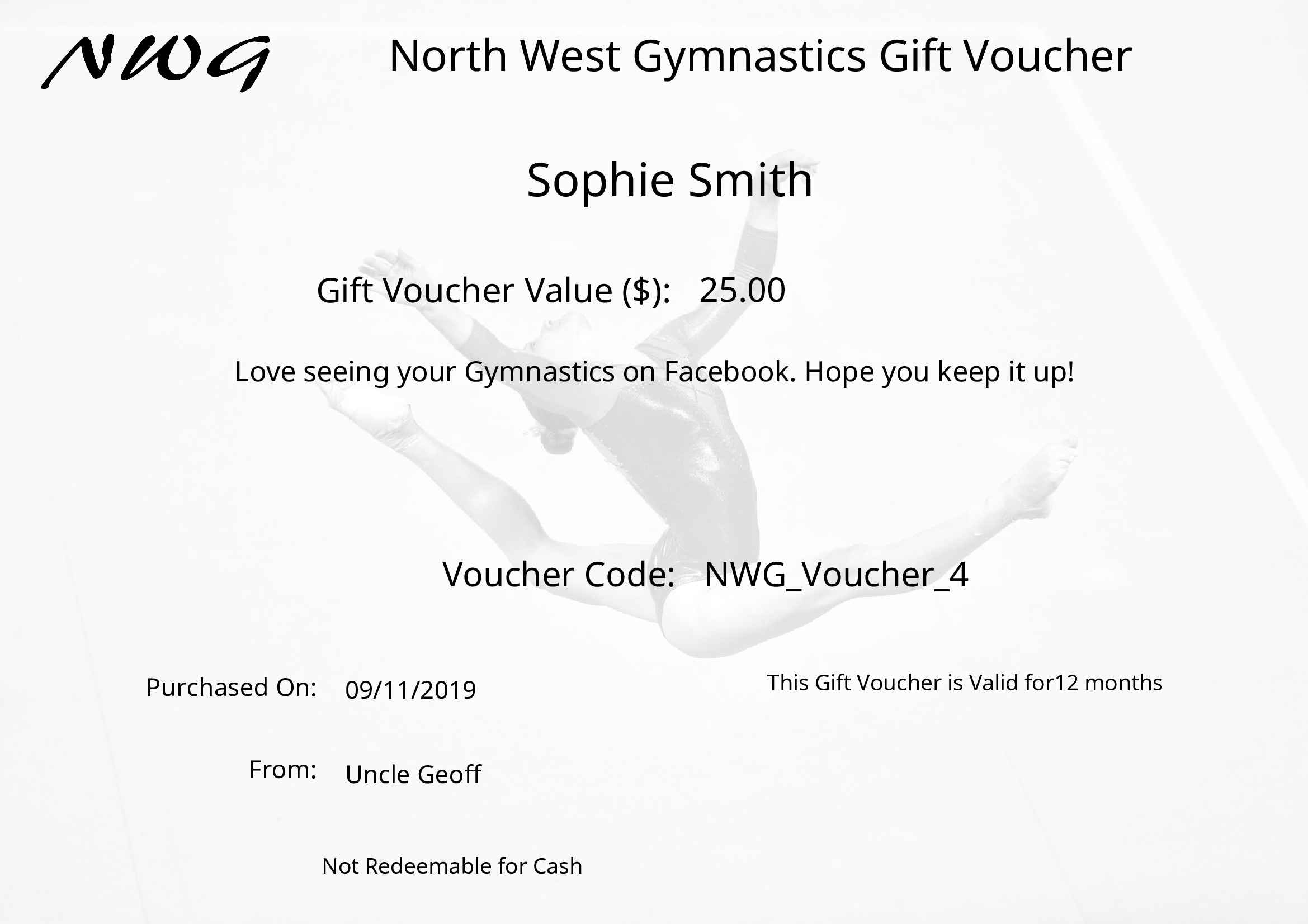 NWG Gift Voucher North West Gymnastics Mount Isa