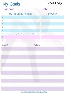 NWG North West Gymnastics Goal Setting - Goals