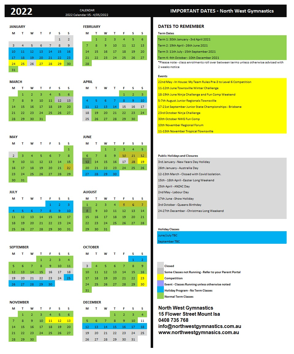 North West Gymnastics Annual Calendar