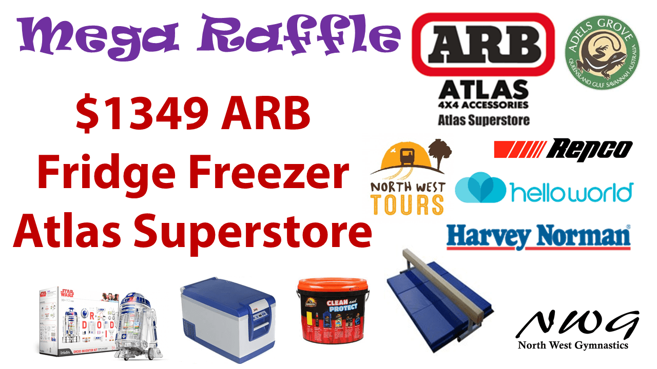 North West Gymnastics Mount Isa NWG MEGA Raffle nwgmountisa mountisagymnastics ARB Fridge Atlas Prize