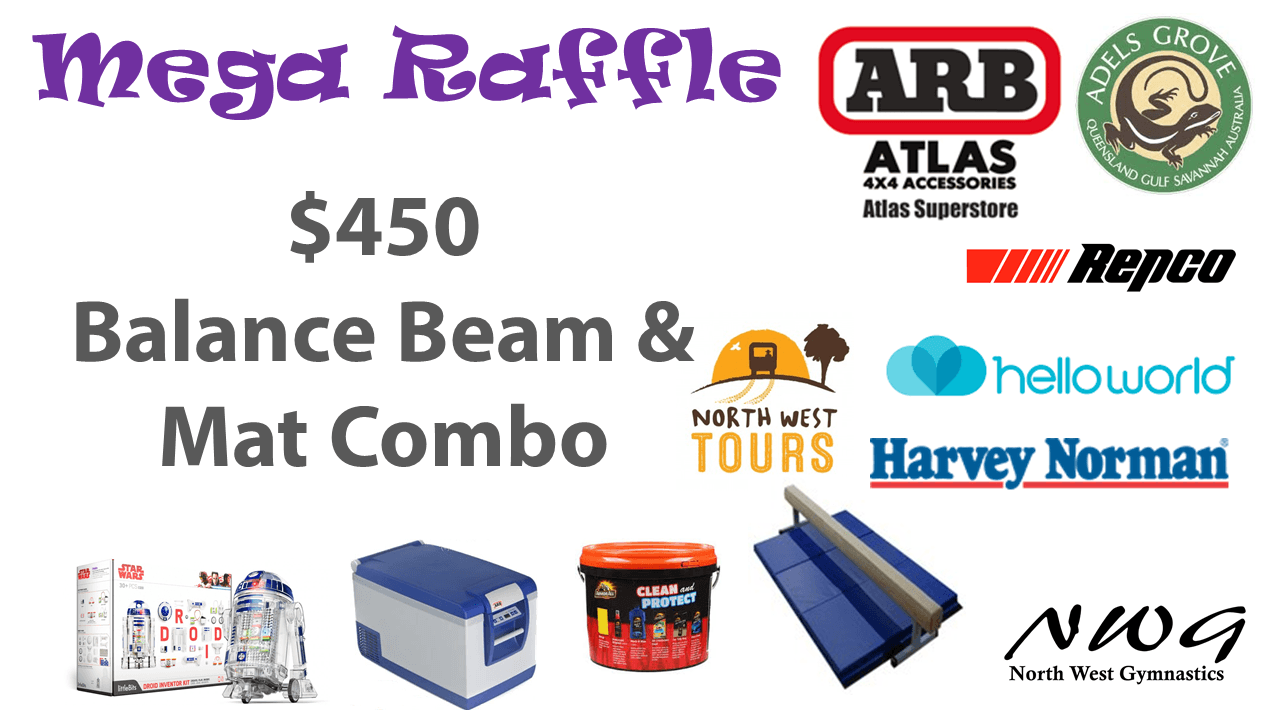 North West Gymnastics Mount Isa NWG MEGA Raffle nwgmountisa mountisagymnastics Balance Beam and Mat Gym Equipment Prize