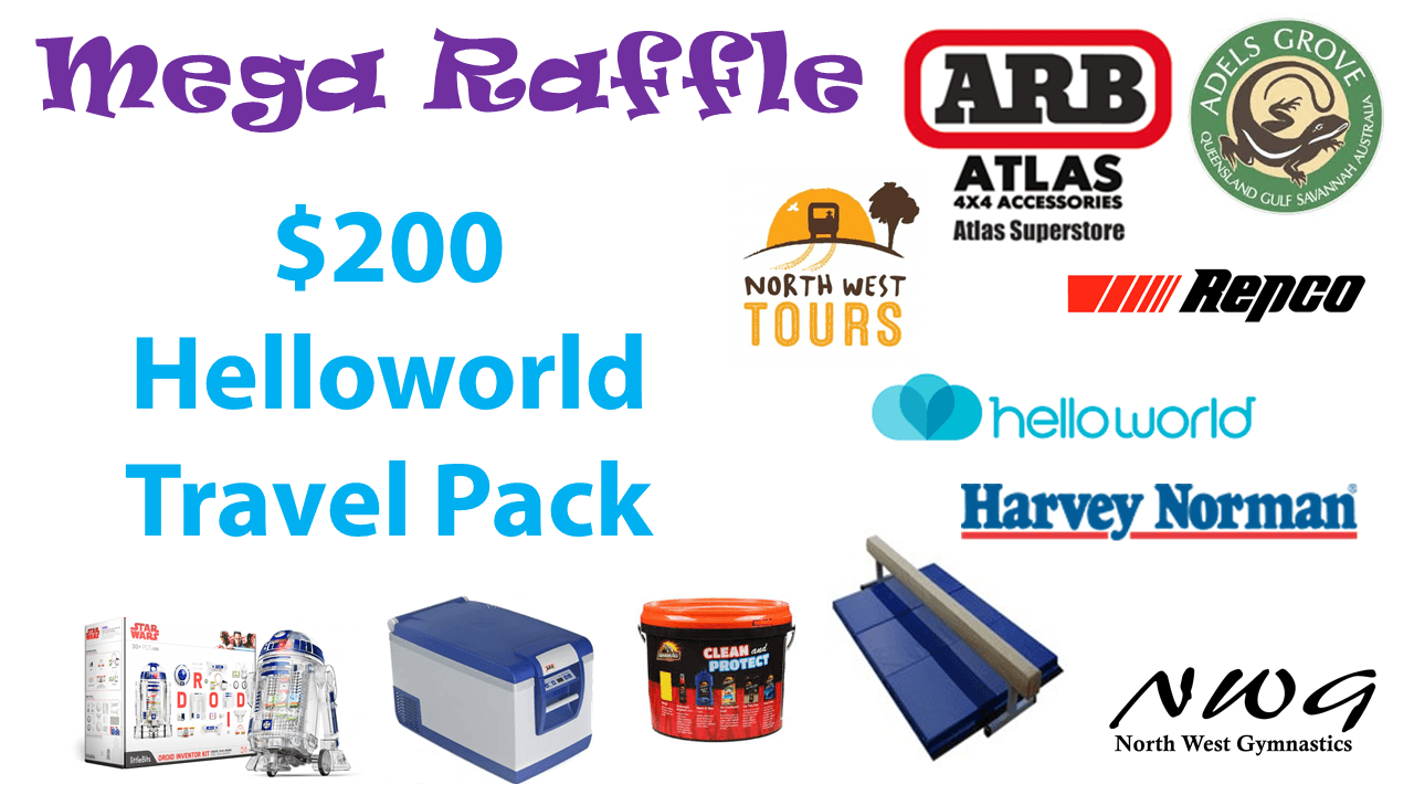 North West Gymnastics Mount Isa NWG MEGA Raffle nwgmountisa mountisagymnastics Helloworld Travel Voucher Prize