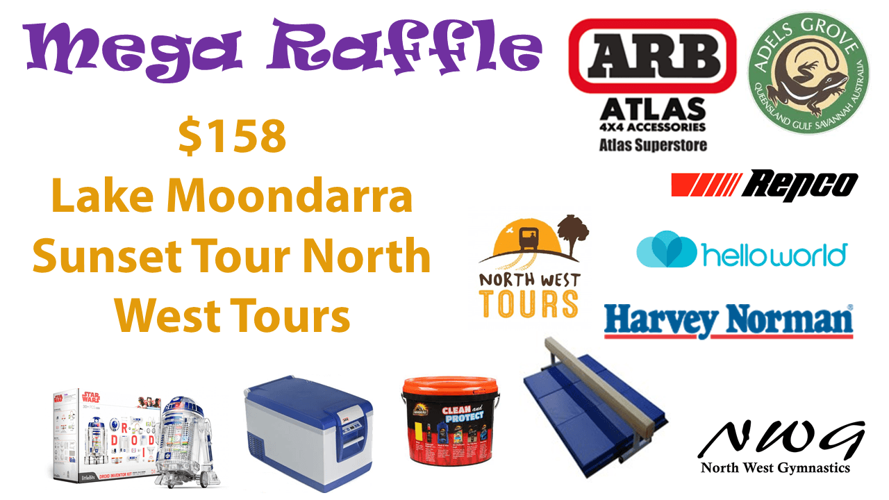 North West Gymnastics Mount Isa NWG MEGA Raffle nwgmountisa mountisagymnastics Lake Moondarra North West Tours Prize