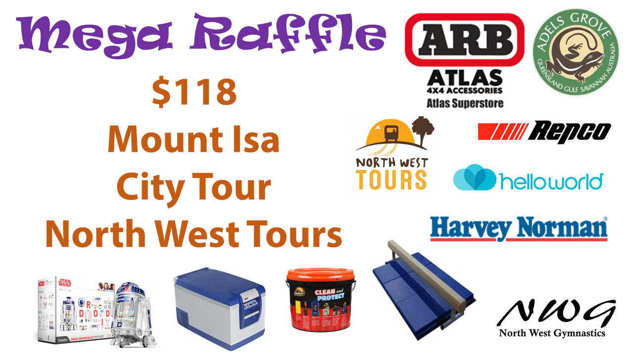North West Gymnastics Mount Isa NWG MEGA Raffle nwgmountisa mountisagymnastics Mount Isa City North West Tours Prize